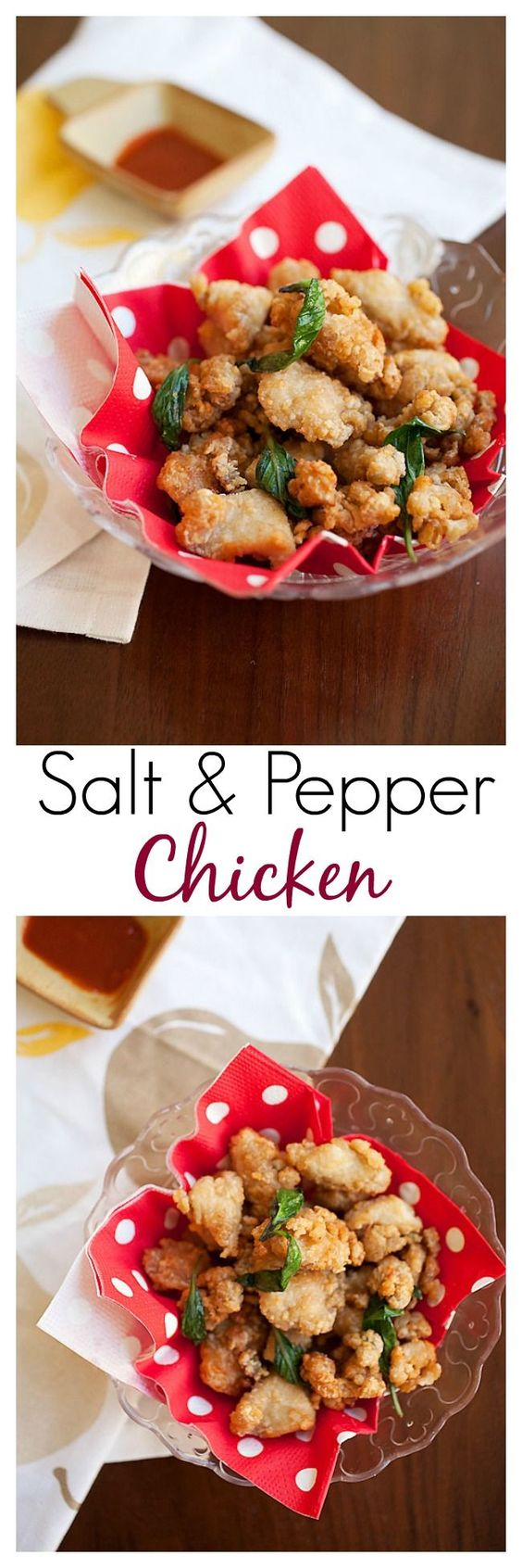 Taiwanese Salt and Pepper Chicken or Popcorn Chicken - Crispy fried marinated chicken with basil leaves.