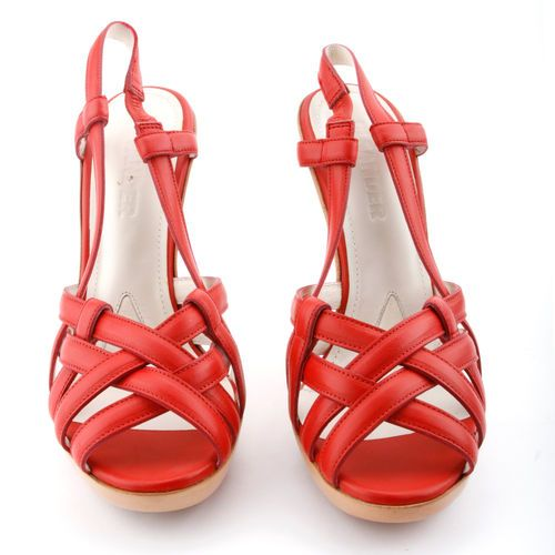 Jil Sander Red Leather Strappy High Heel Sandals | eBay Material:  Leather Country of Manufacture: Italy Price: $129.99 Retail Price: $1,093.00