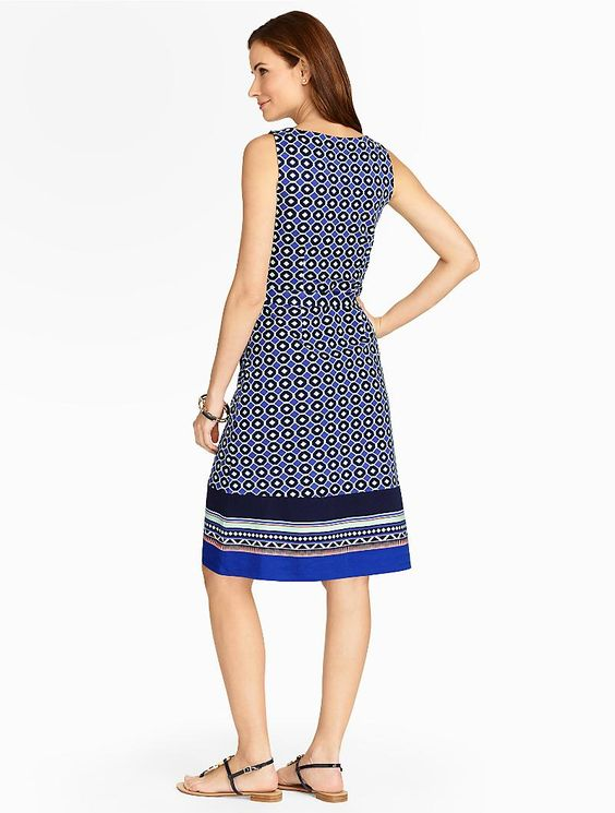 Talbots Tile-Print Border Dress: a classic casual jersey-knit silhouette showcases a modern, geo design./ Woman's Plus / ~~  I have a few of these dresses up for sale on my eBay site;  victor-and-mia