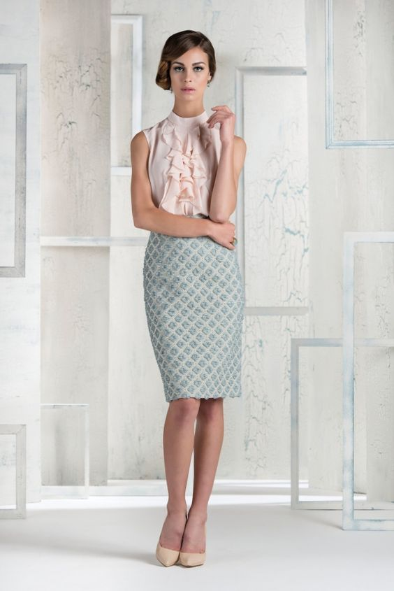 Go romantic at Glorious Goodwood with our Celine skirt in powder blue & our Leonie ruffled blouse in blush