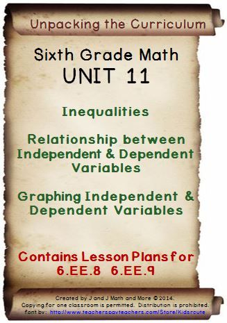 Updated in 2014. Lesson plans that cover: inequalities, the relationship between independent and dependent variables, and graphing independent and dependent variables. Contains links to instructional pages, videos, manipulatives/games and free homework, as well as a vocabulary quiz, study guide, and test--all with keys. 6.EE.8 and 6.EE.9.. Our units determine scope sequence for the whole year, and cover every concept of every standard in the common core for sixth grade math.