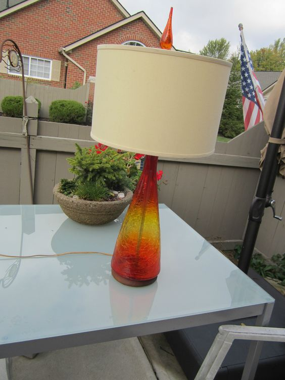 BLENKO LAMP - AMEBERINA CRACKLE GLASS -ORIGINAL | 18 INCHES TALL TO TOP OF GLASS, 27 INCHES TALL TO FINIAL
