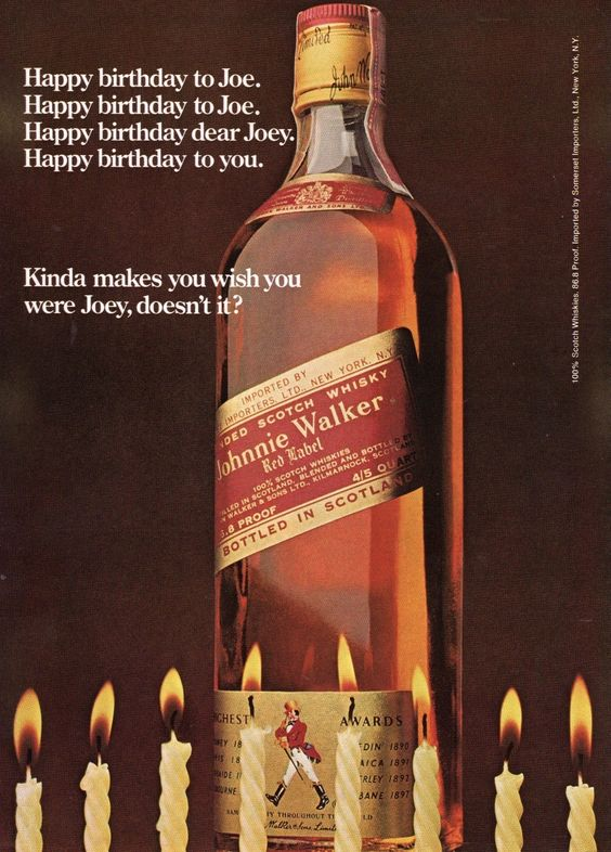 1974 Ad Johnnie Walker Red Label Scotch Whisky Happy