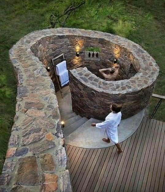 Outdoor Stone Walk In Shower Outdoor Outdoor Shower Backyard