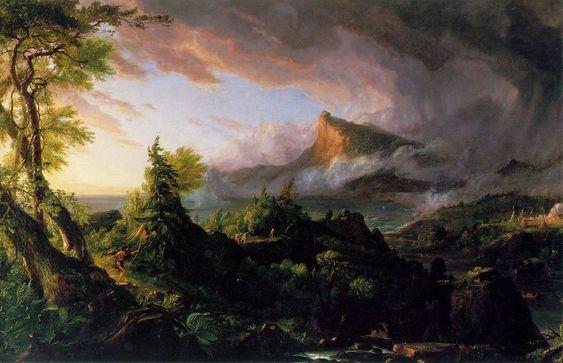 Cole Thomas 柯爾 - The Course of Empire 帝國的演進 - 1 - The Savage State 1836 野蠻狀態