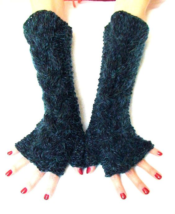 Knit Fingerless Gloves Navy Dark Blue Cabled Extra by LaimaShop