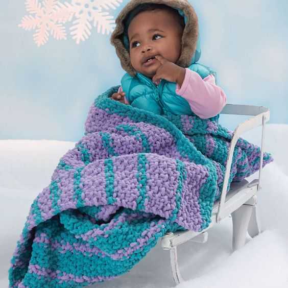 Bernat  Baby Blanket and Pipsqueak  Cascading Stripes Blanket #knit #pattern ...
