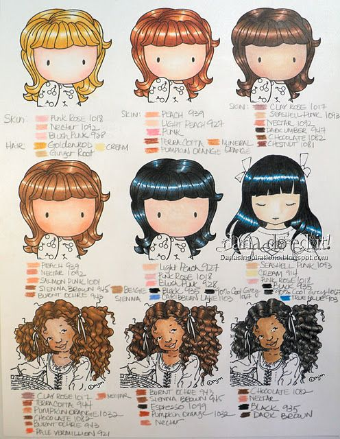 Dana\'s skin and hair coloring chart (prismacolor pencils ...