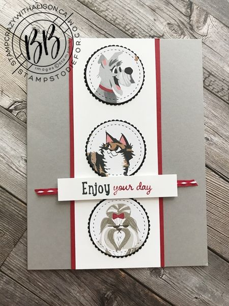 July 2020 Border Buddy Pdf Tutorial Playful Pets By Stampin Up Card 2 In 2020 Cards Hand Stamped Cards Dog Cards