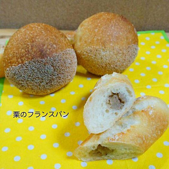 フランスパン生地の中に栗餡を入れて焼いたパンです。 丸い形のは、けしの実をつけて栗に見立ててみました( ´艸`) 栗に見えるかな〜?(*^^*) - 18件のもぐもぐ - 栗のフランスあんパン by xxxnlovekxx65