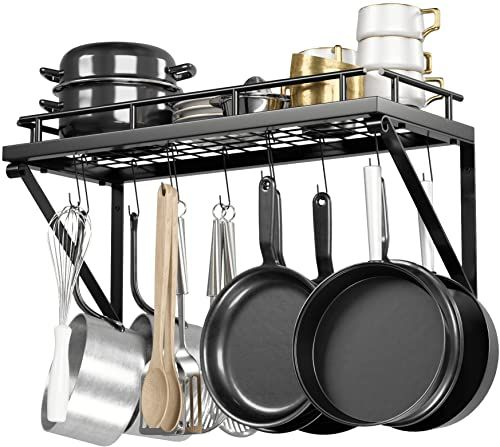 Amazing Offer On Pot Rack Organizer Upgraded Hardware Support Brackets Welds Wall Hanging Pot Pan Organizer 12 Hooks Included Easy Install Kitchen Org In 2020 Pots And Pans Pot Rack Pan Organization