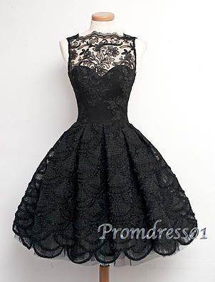 Vintage prom dresses short- black lace junior prom dress- handmade ...