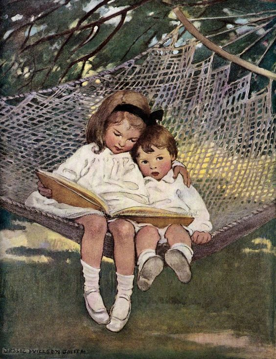 """girl reading- """"Reading in the hammock"""" by Jessie Wilcox Smith"""