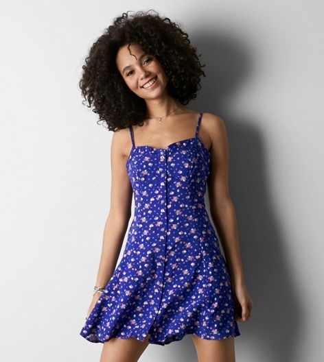 Cobalt Blue AEO Floral Button Front Slip Dress