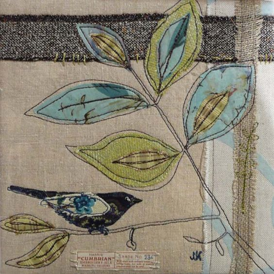 thread sketching over applique: Joanne Hill Interior Textile, many more beautiful examples on this link