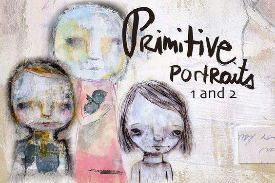 New Primitive Portraits 1 and 2 bundle. Learn how to paint faces and loosen up!