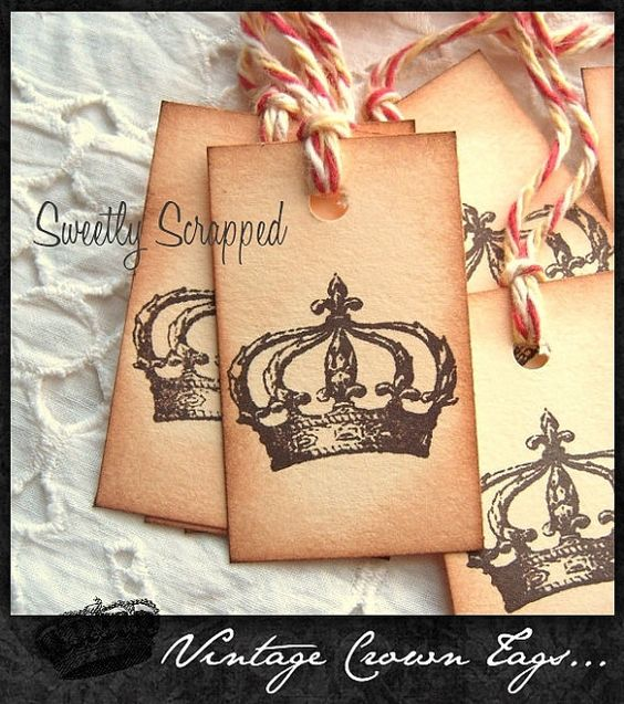 Vintage CROWN Hang Tags Hand Aged Earth by SweetlyScrappedArt, $4.95