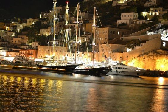 Port  of Hydra Island by Night
