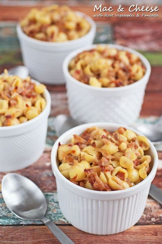 Healthy Mac & Cheese with Root Vegetables & Pancetta. Get this easy weeknight recipe at This Mama Cooks! On a Diet