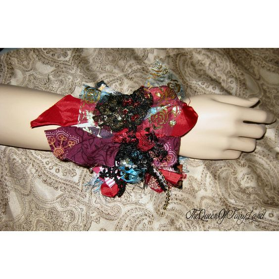 Wrist Cuff, Bracelet, Art to Wear, Victorian Red designs, Tattered... ($48) ❤ liked on Polyvore featuring jewelry, bracelets, cuff jewelry, beading jewelry, cuff bangle, bohemian bangles and red bead jewelry