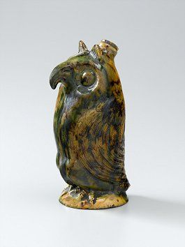 Moravian Redware Owl Bottle, attributed to Rudolph Christ, Salem, NC, early 19th century, MESDA