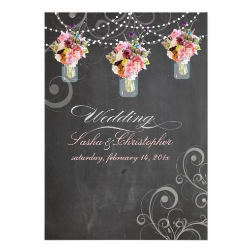 PixDezines chalkdboard mason jars wild flowers Custom Invite