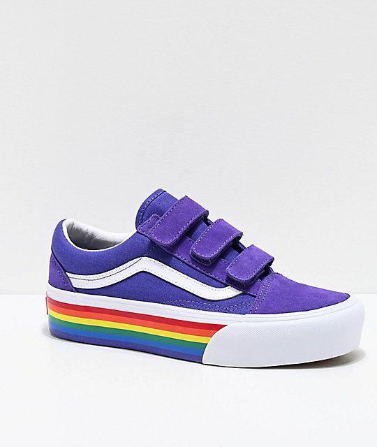 Vans Old Skool Rainbow Platform Shoes in 2020   Vans old