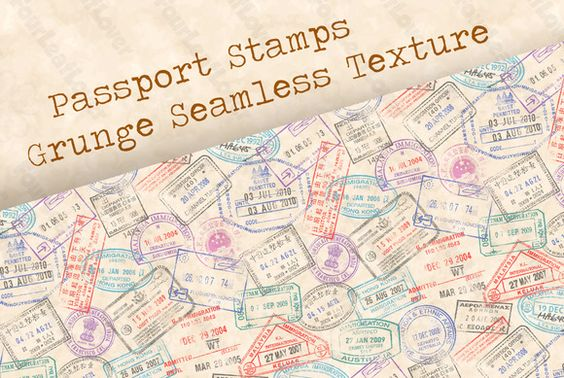 Passport Stamps Seamless Texture by FourLeafLover on @creativemarket