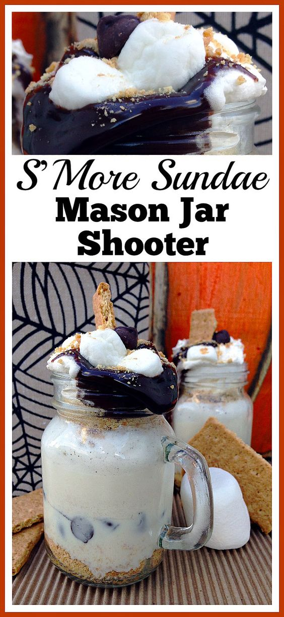 This S'More sundae Mason jar shooter is an easy to make (and delicious) drink dessert! It's a great treat for a backyard camp out, or anytime.| mason jar recipe