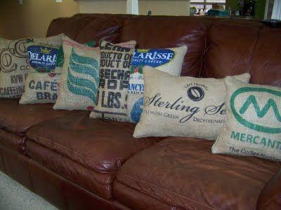 burlap coffee bag pillows