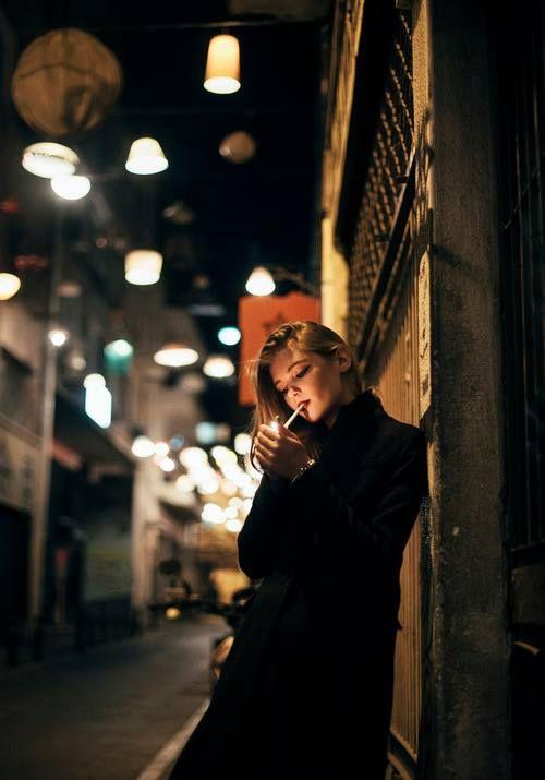 Cigarette, smoke, night