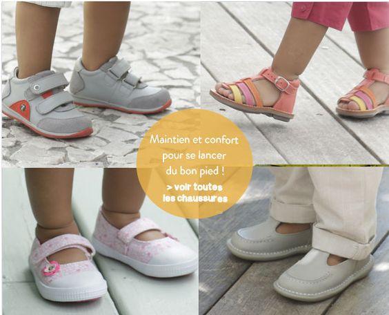 Maintien et confort pour se lancer du bon pied ! #chaussures #enfants premiers pas sur www.vertbaudet.fr - Collection printemps été 2014