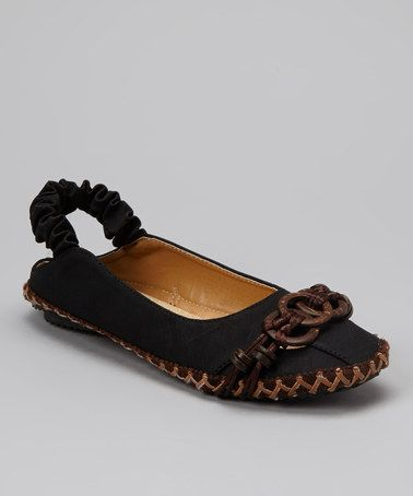 Take a look at this Black Circle Slingback Flat by Nicole Simpson on #zulily today!