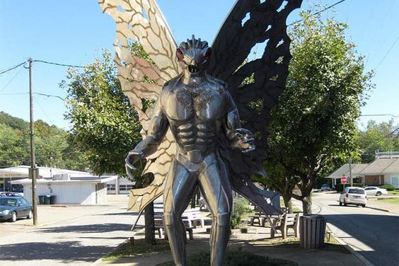 10 Mythical American Monsters  ~The famous Mothman statue can be seen in Point Pleasant, West Virginia.