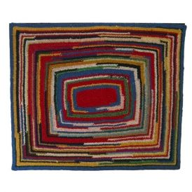 United States circa 1940's Amish table rug crocheted in a rainbow of cotton. Appealing, punchy composition. Conservation mounted for hanging.