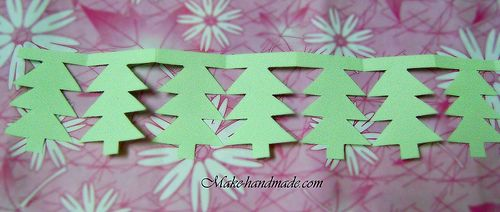Paper garland tutorial: Paper Christmas tree Folding paper with ziczac way with (3cm x 6cm) Drawing Christmas tree with a pencil (see the picture) Cutting to the lines, we have Shaped Christmas tree.   And we open it, we have Christmas tree garland.