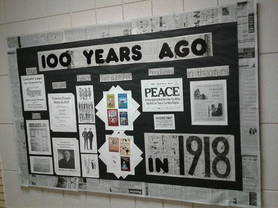 100th Day Of School Bulletin Board 100 Years Ago In 1918 Newspaper High School Bulletin Boards History Classroom Decorations School Bulletin Boards