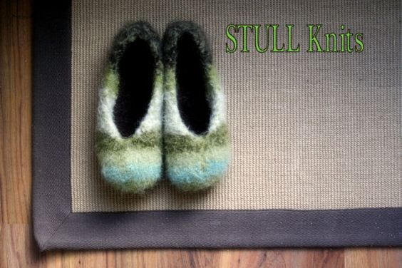 Wool Felted Stull slippers  Multi Green  Made to by StullKnits, $65.00