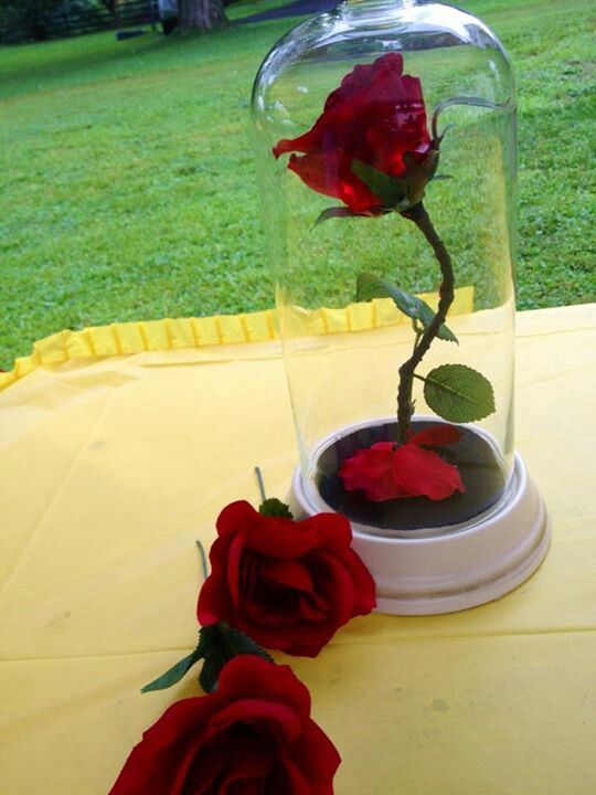 Make enchanted rose from beauty and the beast elegant touch to a brides shower..
