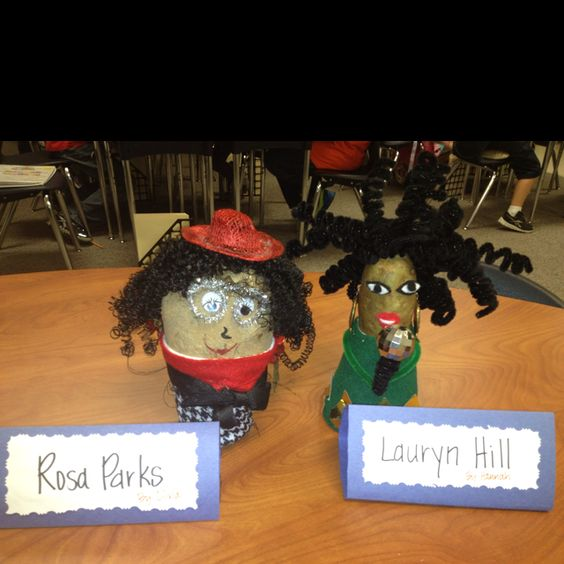 Biography Potato Head!  My team mate at school shared this fun idea with me!  We've been studying genre types in third grade and specifically biography and autobiography.  Students study and write a biography about a famous person they're interested in.  Then, they use a potato and styrofoam cup to create their person. The students loved it!