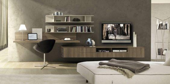 Coin bureau en bois massif murs gris taupe meuble t l for Meuble tele en coin