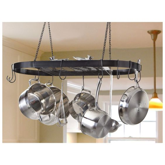 Pots And Pans Storage Ideas To Take Note Of: CASTLECREEK™ Wrought Iron Pot Rack Hangs From Your Ceiling