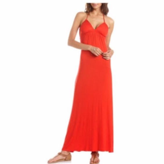 Red halter maxi dress Red cotton halter, maxi dress, great fit, 100% cotton Charlotte Russe Dresses Maxi