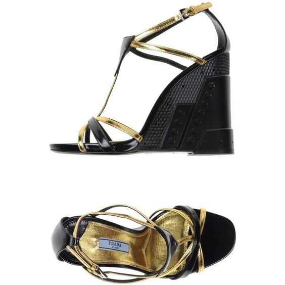Prada Sandals ($268) ❤ liked on Polyvore featuring shoes, sandals, gold, ankle tie sandals, prada shoes, prada sandals, wedge heel sandals and leather wedge sandals
