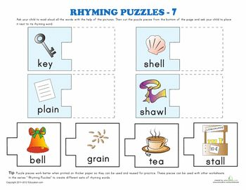 Printables 5 Rhyming Words rhyming words puzzle 5 phonics worksheets and 7