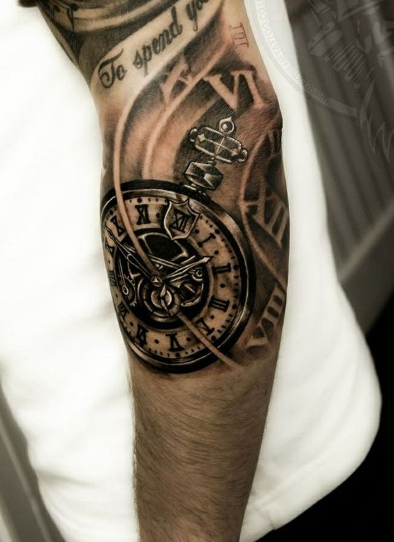 tattoos ideen schwarz uhr mechanismus tattoos. Black Bedroom Furniture Sets. Home Design Ideas