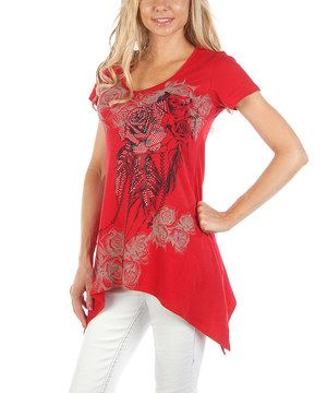 Another great find on #zulily! Liberty Wear Red Floral Handkerchief Top - Women by Liberty Wear #zulilyfinds
