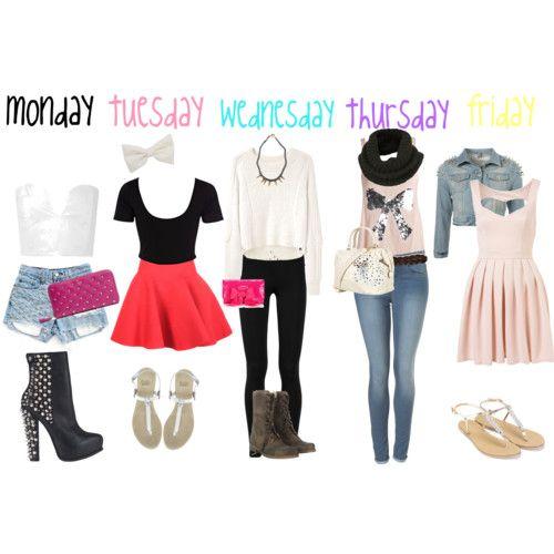 Cute school outfits love tue wen Thur and fri