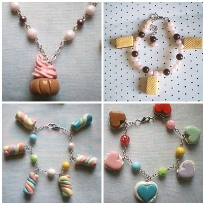 Pulseiras com pingentes feitos em massa de biscuit com formato de cupcake, wafers, marshmallow e macarons coração.