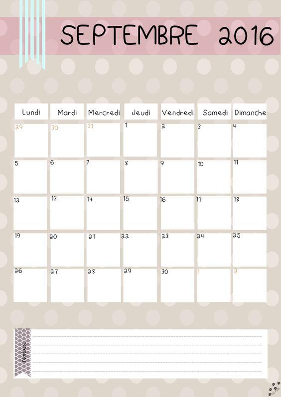 calendrier septembre 2016